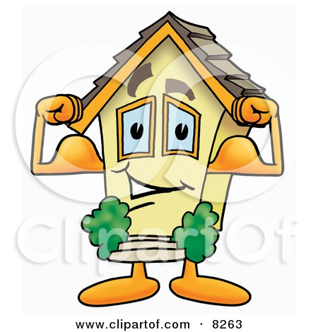 Clipart Picture of a House Mascot Cartoon Character Flexing His Arm Muscles by Toons4Biz