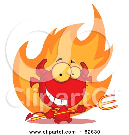 Royalty-Free (RF) Clipart Illustration of a Grinning Devily Guy Holding A Pitchfork In Front Of Fire by Hit Toon