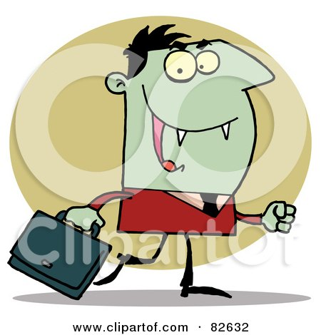Royalty-Free (RF) Clipart Illustration of a Dracula Businessman In A Red Suit, Carrying A Briefcase Over A Green Oval by Hit Toon