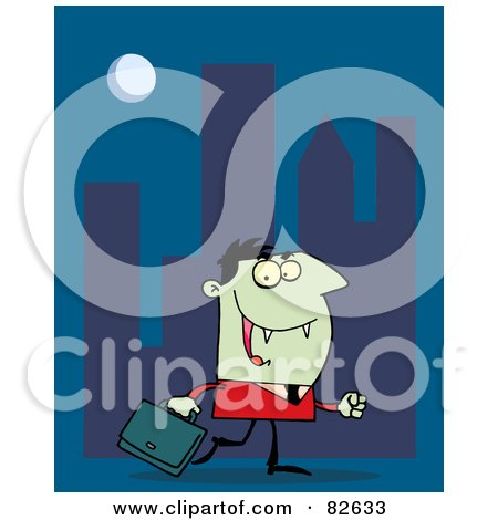 Royalty-Free (RF) Clipart Illustration of a Vampire Businessman In A Red Suit, Carrying A Briefcase And Walking In A City At Night by Hit Toon