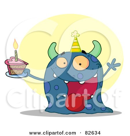Royalty-Free (RF) Clipart Illustration of a Happy Blue Birthday Monster Wearing A Party Hat And Holding A Slice Of Cake by Hit Toon