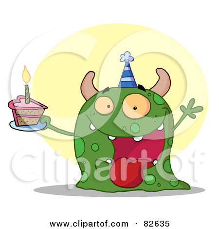 Royalty-Free (RF) Clipart Illustration of a Happy Green Birthday Monster Wearing A Party Hat And Holding A Slice Of Cake by Hit Toon