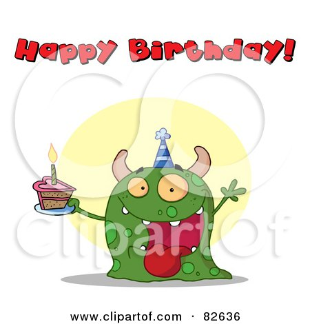 Royalty-Free (RF) Clipart Illustration of a Happy Birthday Text Above A Green Birthday Monster Wearing A Hat And Holding Cake by Hit Toon