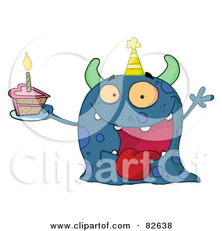 Royalty-Free (RF) Clipart Illustration of a Spotted Blue Birthday Monster Wearing A Party Hat And Holding A Slice Of Cake by Hit Toon