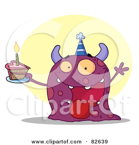 Royalty-Free (RF) Clipart Illustration of a Happy Purple Birthday Monster Wearing A Party Hat And Holding A Slice Of Cake by Hit Toon