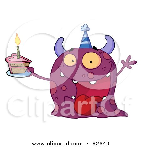 Royalty-Free (RF) Clipart Illustration of a Spotted Purple Birthday Monster Wearing A Party Hat And Holding A Slice Of Cake by Hit Toon