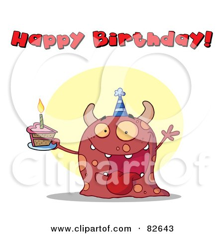 Royalty-Free (RF) Clipart Illustration of a Happy Birthday Text Above A Pink Birthday Monster Wearing A Hat And Holding Cake by Hit Toon