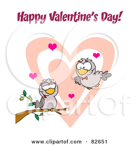 Pair Of Romantic Turtle Doves With Hearts And Happy Valentine's Day Text Posters, Art Prints