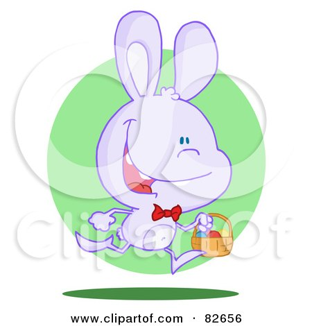 Royalty-Free (RF) Clipart Illustration of an Exited Running Purple Bunny With An Easter Basket, In Front Of A Green Circle by Hit Toon