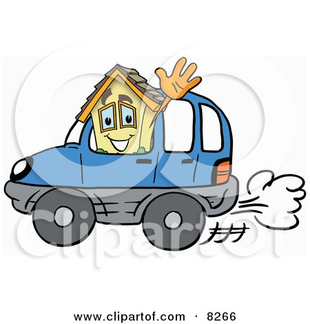 Clipart Picture of a House Mascot Cartoon Character Driving a Blue Car and Waving by Toons4Biz