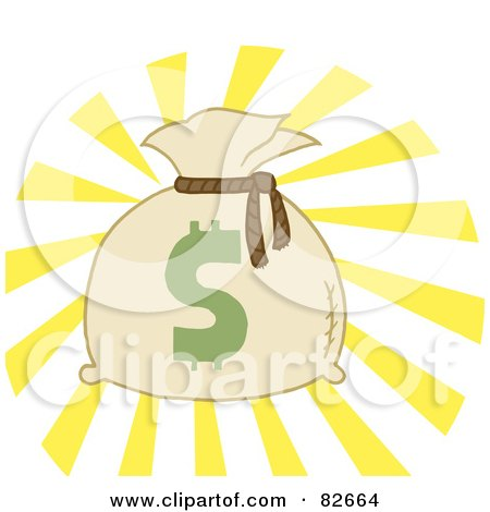 Royalty-Free (RF) Clipart Illustration of a Money Bag Sack With A Dollar Symbol And Bright Light by Hit Toon