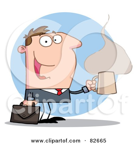 Royalty-Free (RF) Clipart Illustration of a Hyper Businessman With A Steamy Hot Cup  Of Coffee, Carrying A Briefcase Over A Blue Circle by Hit Toon