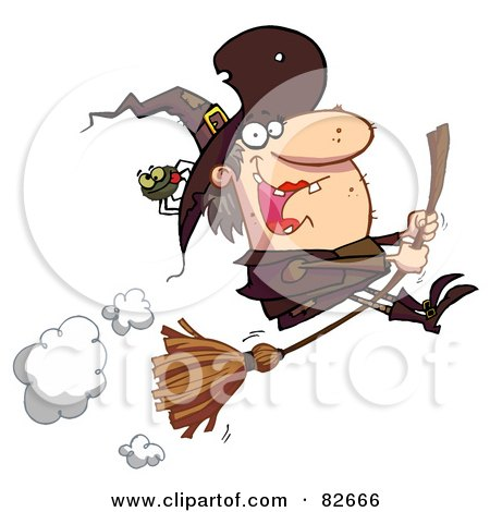 Royalty-Free (RF) Clipart Illustration of a Spider Hitching A Ride On A Flying Witch's Hat by Hit Toon