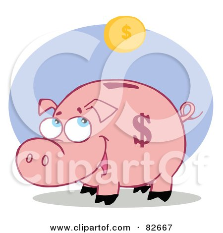 Royalty-Free (RF) Clipart Illustration of a Happy Piggy Bank Watching A Coin Fall Into His Slot by Hit Toon