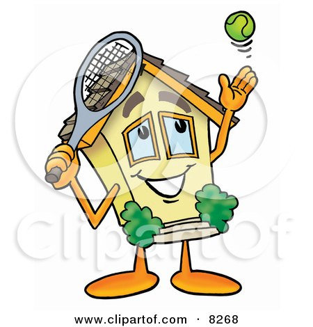 Clipart Picture of a House Mascot Cartoon Character Preparing to Hit a Tennis Ball by Toons4Biz