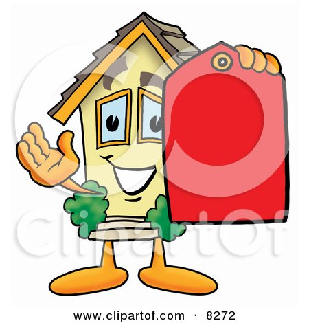 Clipart Picture of a House Mascot Cartoon Character Holding a Red Sales Price Tag by Toons4Biz