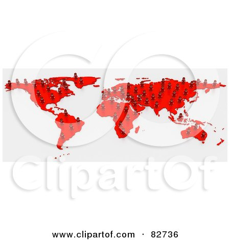 Royalty-Free (RF) Clipart Illustration of a 3d Red Human Network Map by Tonis Pan
