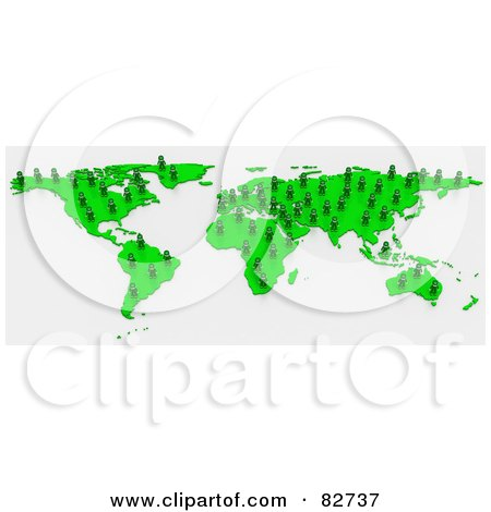Royalty-Free (RF) Clipart Illustration of a 3d Green Human Network Map by Tonis Pan