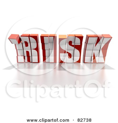 Royalty-Free (RF) Clipart Illustration of a Crumbling 3d Word Risk Made Of Blocks, Leaning Forward - Version 1 by Tonis Pan