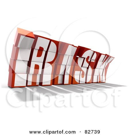 Royalty-Free (RF) Clipart Illustration of a Crumbling 3d Word Risk Made Of Blocks, Leaning Forward - Version 2 by Tonis Pan