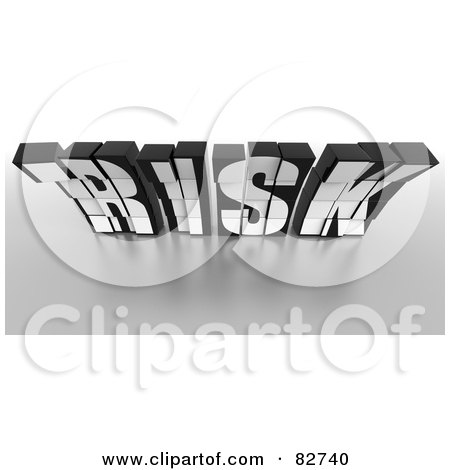 Royalty-Free (RF) Clipart Illustration of a Crumbling 3d Black Word Risk Made Of Blocks, Leaning Forward by Tonis Pan