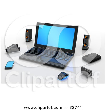 Royalty-Free (RF) Clipart Illustration of a 3d Computer With Speakers, Video Camera, Camera, Pda And Mouse by Tonis Pan