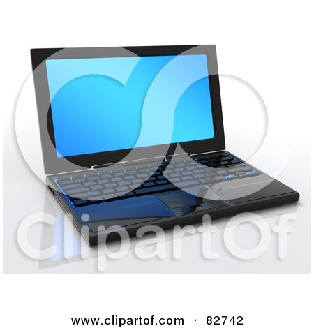 Royalty-Free (RF) Clipart Illustration of a 3d Black New Laptop Computer With A Blank Blue Screen On A Reflective Surface by Tonis Pan
