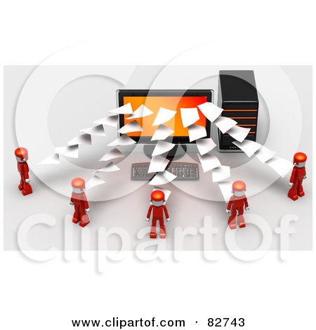 Royalty-Free (RF) Clipart Illustration of 3d Pages Flowing To Or From A Desktop Computer To Red People by Tonis Pan