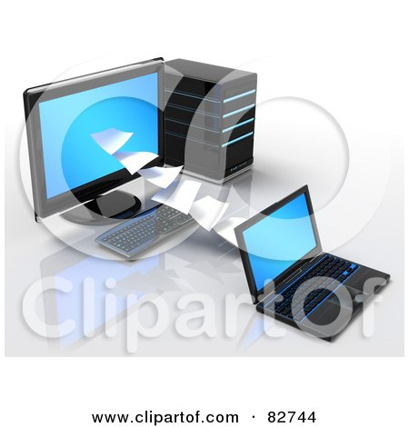 Royalty-Free (RF) Clipart Illustration of a 3d Pages Of Data Flowing To Or From A Desktop Computer And Laptop by Tonis Pan