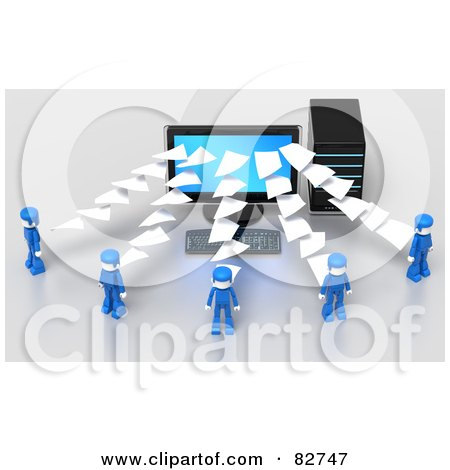 Royalty-Free (RF) Clipart Illustration of 3d Pages Flowing To Or From A Desktop Computer To Blue People by Tonis Pan