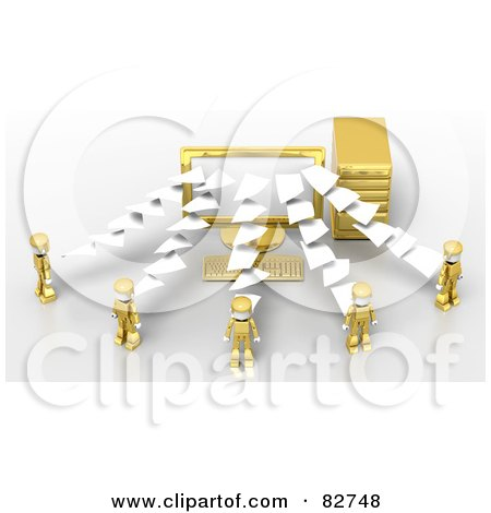 Royalty-Free (RF) Clipart Illustration of 3d Pages Flowing To Or From A Desktop Computer To Gold People by Tonis Pan