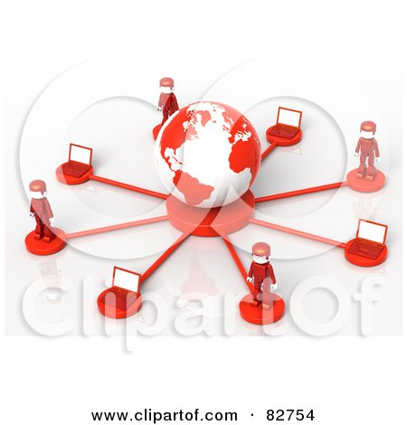 Royalty-Free (RF) Clipart Illustration of 3d Red Network People Standing Around A Globe by Tonis Pan
