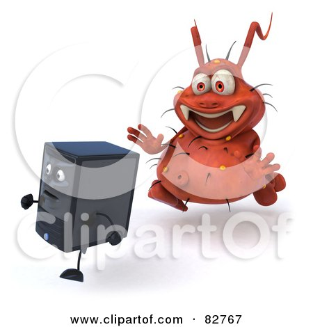 Royalty-Free (RF) Clipart Illustration of a 3d Rodney Germ Character Chasing A Computer - Pose 2 by Julos