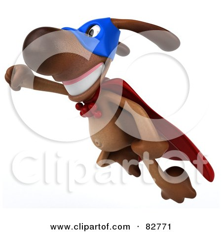 Royalty-Free (RF) Clipart Illustration of a 3d Brown Pooch Character Super Hero in Flight by Julos