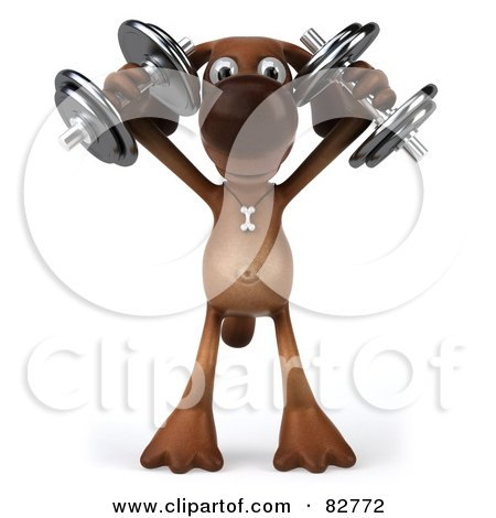 Royalty-Free (RF) Clipart Illustration of a 3d Brown Pooch Character Standing And Holding Up Dumbbells by Julos