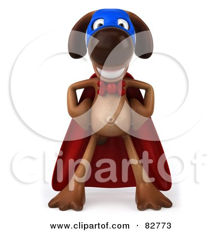 Royalty-Free (RF) Clipart Illustration of a 3d Brown Pooch Character Standing In A Super Hero Cape by Julos