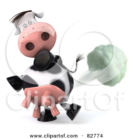 Royalty-Free (RF) Clip Art Illustration of a Flatulent 3d Horton The Cow Farting by Julos