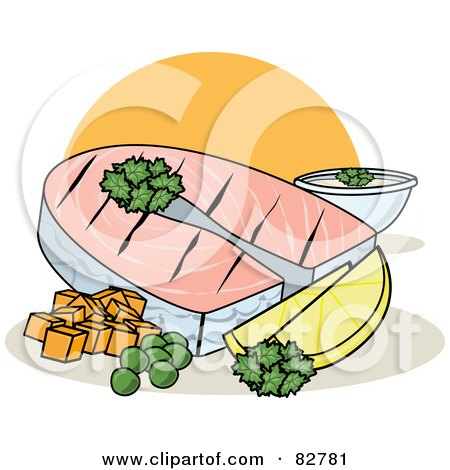Royalty-Free (RF) Clipart Illustration of a Healthy Dinner Of Grilled Fish With Lemons, Parsley And Veggies by r formidable