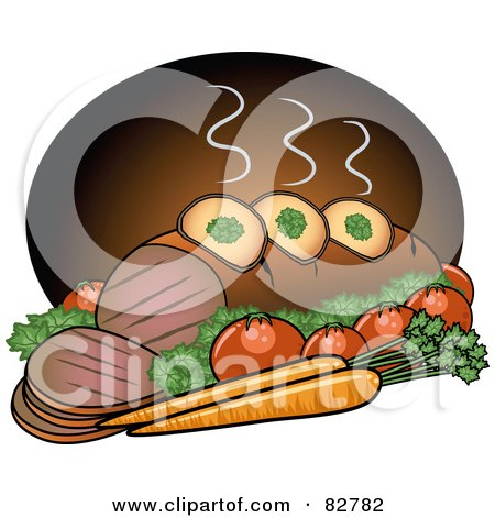 Royalty-Free (RF) Clipart Illustration of a Steaming Hot Pot Roast Beef Served With Veggies by r formidable