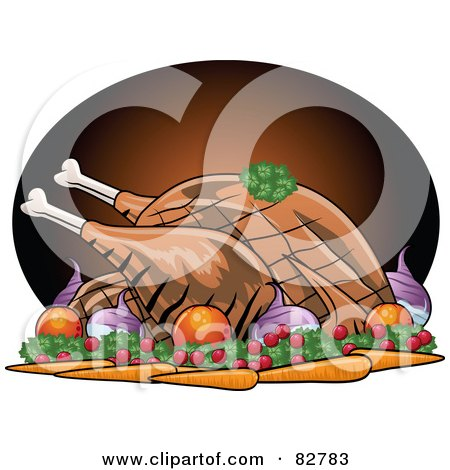 Royalty-Free (RF) Clipart Illustration of a Roasted Turkey Bird Served With Veggies by r formidable