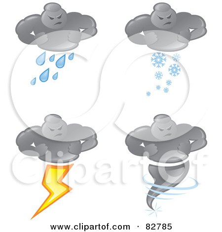 Royalty-Free (RF) Clipart Illustration of a Digital Collage Of Bad Weather Man Cloud Raining, Snowing, Striking Lightning And As A Tornado by Paulo Resende