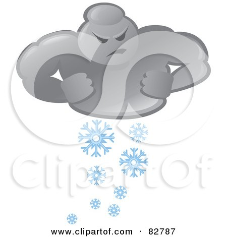 Royalty-Free (RF) Clipart Illustration of a Bad Weather Man Cloud Snowing by Paulo Resende