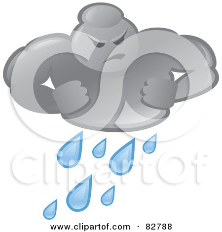 Royalty-Free (RF) Clipart Illustration of a Bad Weather Man Cloud Pouring Rain by Paulo Resende