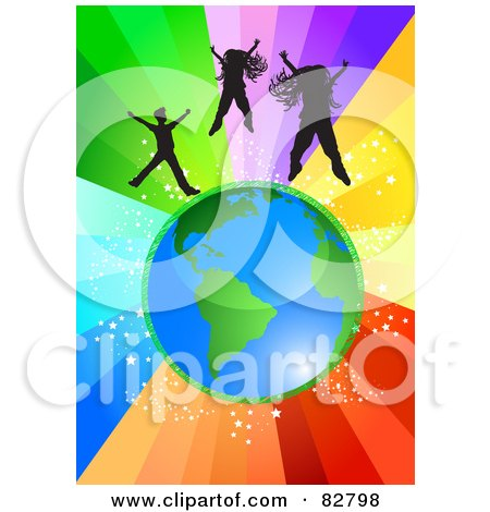 Royalty-Free (RF) Clipart Illustration of Silhouetted Girls And A Boy Jumping Above Planet Earth Over A Starry Rainbow Burst Background by MilsiArt