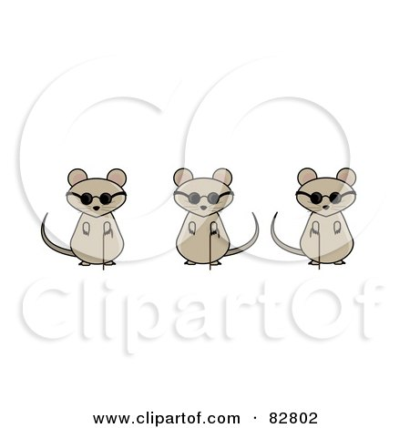 Three Blind Mice With Canes And Sunglasses Posters, Art Prints