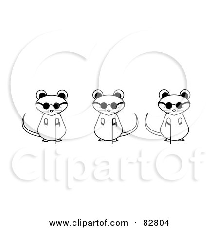 three blind mice coloring page - royalty free rf clipart illustration of three blind mice