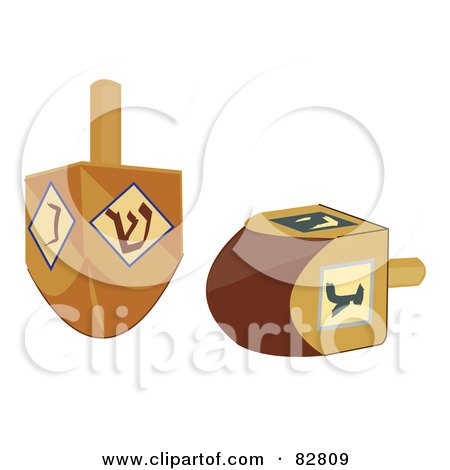 Royalty-Free (RF) Clipart Illustration of Two Wood Dreidels by Pams Clipart