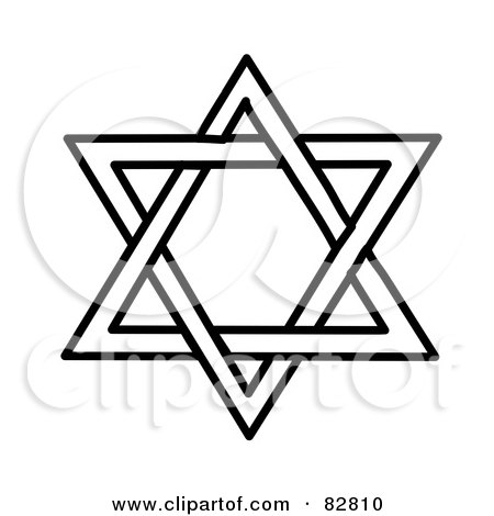 Royalty-Free (RF) Clipart Illustration of a Black And White Star Of David Design by Pams Clipart