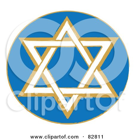 Royalty-Free (RF) Clipart Illustration of a White And Brown Star Of David In A Blue Circle by Pams Clipart