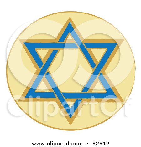 Royalty-Free (RF) Clipart Illustration of a Blue And Brown Star Of David In A Yellow Circle by Pams Clipart